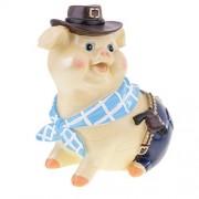 Segolike Creative Resin West Cowboy Saving Money Piggy Bank Coin Box Desktop Ornament Kids Toy Birthday Gift, Blue