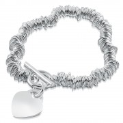 Sweetie/Link T-Bar Heart Bracelet Sterling Silver Personalised/Engraved