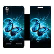 Skintice Designer Flip Cover with Vinyl wrap-around for Lenovo A6000 Plus, Design - butterfly-splatter