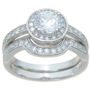 Halo Cubic Zirconia Bridal Wedding Engagement Ring Set