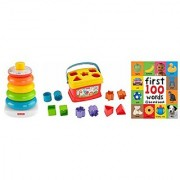 Fisher Price 3 Piece Set Rock-a-Stack and Babys First Blocks with Bonus First 100 Words Board Book