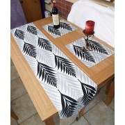 Black & White with Silver Grey Long Table Runner & 2 Table protectors Made in UK