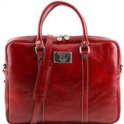 Tuscany Leather Prato - Elegante porta folios y porta ordenador portátil en piel Rojo Bolsos con asas