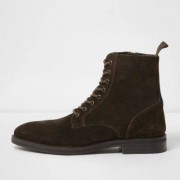 River Island Dark brown suede lace-up boots