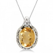 Oval Citrine and Diamond Pendant Necklace 14k White Gold (3.00ct)