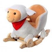 Mecedora para bebés de peluche con balancín con diseño de caballo juguete interruptor madera oveja de peluche