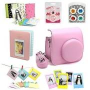 CAIUL Fujifilm Instax Mini 8 Camera Accessories Bundles Pink (7 Items)