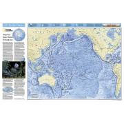 Wereldkaart - Wereldkaart Pacific ocean - grote oceaan oceaanbodem, 83 x 55 cm   National Geographic