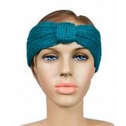 Gebreide haarband groen/turquoise