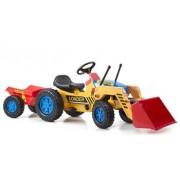 G21 Classic lábbal hajtós traktor markolóval és utánfutóval sárga/kék