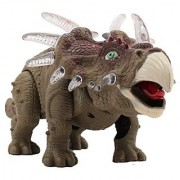 TECHEGE Battery Powered Triceratops Dinosaur Toy Realistic Sounds and Fun Lights Walks and Roars!