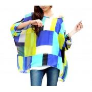 Blusa in chiffon oversize taglio asimmetrico maglia elegante e casual con stampa geometrica blu 004
