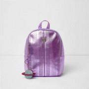River Island Girls Purple metallic laser cut backpack
