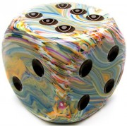 Custom & Unique {Jumbo Massive Huge Xxl 50mm} 1 Ct Single Unit Of 6 Sided [D6] Square Cube Shape Playing & Game Dice W/ Abstract Stone Swirl Pearl Design [Ivory, Blue, White, Orange, Green & Black]
