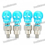 Skull Head decorativos Blue Light Bike / Car del neumatico rueda de la valvula Lamparas Gorras (3 x AG10 / Pack 2-Par)