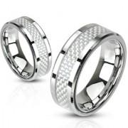 Inel Verigheta Otel Inox si Fibra de Carbon RS-398