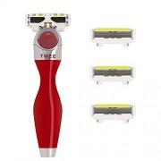 SHAVE-LAB - TWEE - Set de afeitado inicial con 4 cuchillas (Red Edition con P.L.6 - para Mujer)