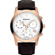 Rodania Celso Herren 40mm Chronograph Braun Leder Armband Datum Uhr 25103-33
