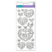 Living In Color Paper Craft Stickers Art Therapy with Glitter 4in x 9in color your own stickers Heart Floral