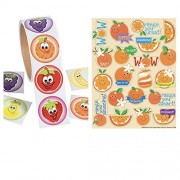 280 FRUIT Stickers - 2 Rolls of 100 FRUITS & 4 Sheets of 20 Scented ORANGE Stickers Nutrition HEALTH - Teacher Motivational Rewards EDUCATION Classroom Party Favors
