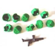Lego Batman - Green Swept Combed Back Minifigure Hair Joker Widow's Peak (Lot of 10 Loose parts + 1 Weapon Gun