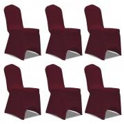 vidaXL Еластични калъфи за столове, виненочервени – 6 броя