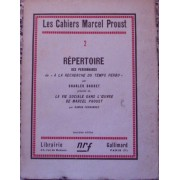 Les Cahiers Marcel Proust. 2. Repertoire Des Personnages De A La Recherche Du Temps Perdu