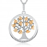 Tree of Life Necklace, Sterling Silver with Rose Gold