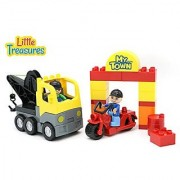 City Town 25 Piece Construction Zone Toy Box That Comes With a Truck & Motorcycle and Interchanges with Duplo Building B