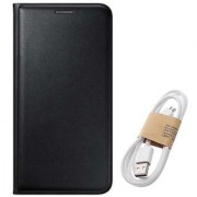 Lava A67 Flip cover With Micro Usb Cable-Color May Vary