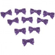 Magideal Fabric Sequin Bow Tie Iron-On Bling Baby Kid Cloth DIY Craft Patch Purple