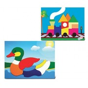 Puzzled Duck and Train Educational Fun Rasied Wooden Puzzle for Home or Travel - Animals Trains Theme - Set of 2 - Affordable Gift For Your Little One - Item #K4008-4013