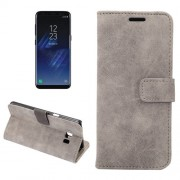 For Samsung Galaxy S8 Plus Sheep Bar Material Horizontal Flip Leather Case with Holder & Card Slots & Wallet & Photo Frame (Grey)