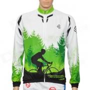 LAMBODA L129 Tree Pattern Bicycling Sun Block Long Sleeves Jersey w/ 3-Pocket - Green (Size XXL)