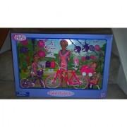 Just Kidz Mom and Children Bike Playset with Bikes Strollers Pets Rollerblades Backpacks Helmets Tennis Rackets etc