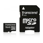 Transcend TS16GUSDHC10 Micro SD HC10 con adattatore SD, 16Gb, Nero