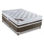 Conjunto Box Colchão Orthocrin Molas Pocket Látex Zeus + Cama Box Courino White - Conjunto Box Solteiro - 088 x 188