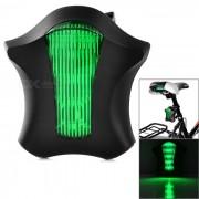 Bicicleta 5 LED-7-Mode Green Light 2 * Red Laser Luz trasera - Verde