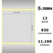 Zebra Z-Ultimate 3000T Silver - Etichette in poliestere di colore argento, formato 76 x 76 mm.