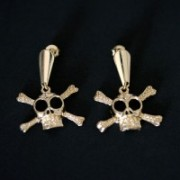 Semi Jewelry Earring Plated Gold Medium Deaths Head