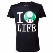 SUPER MARIO BROS - T-Shirt Super Mario : I Love Life Black Men (XL) [Edizione: Francia]