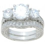 Antique Style Cubic Zirconia Bridal Wedding Engagement Ring Set