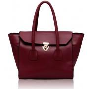 Kabelka LS00183 - Burgundy Twist Lock Shoulder Handbag