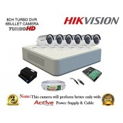 Hikvision DS-7108HGHI-F1 720P (1MP) Mini 8CH Turbo HD DVR 1Pcs + Hikvision DS-2CE16COT-IR Bullet Camera 6Pcs+ 1TB HDD + Active Copper Cable + Active Power Supply Full Combo Kit.