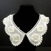 White Polyester Beaded Flower Neckline Lace Collar Charming Sewing Applique