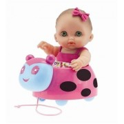 "ADORABLE LIL' CUTESIES LADYBUG PULL-ALONG SET - 8.5"" All vinyl water friendly doll for children Ages 2+ - Designed by Berenguer by JC Toys"