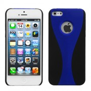 Protector Iphone 5 Negro con Franja Azul