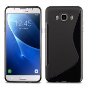 Samsung Galaxy J7 (2016) J710f/ Duos/ J710fn/ J710m/ J710h: Housse Etui Pochette Coque Silicone Gel S Line - Noir