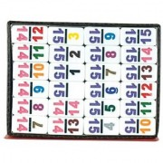 Double 15 Professional Mexican Train White Tiles with Colored Numbers