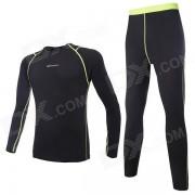 NUCKILY Hombres Ciclismo Polartec larga Jersey + Pants Set - Negro (XL)